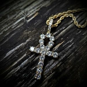 "14k GP Iced Out 24"" Stainless steel Ankh Necklace"